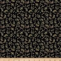 QT Fabrics Fine Tuning Music Notes Black