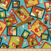 QT Fabrics Santoro Poppi Loves Reading Together Poppi Loves Framed Character Blue