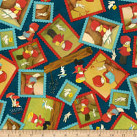 QT Fabrics Santoro Poppi Loves Reading Together Poppi Loves Framed Character Toss Navy