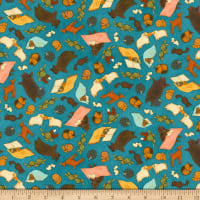 QT Fabrics Santoro Poppi Loves Reading Together Animal Toss Dark Blue