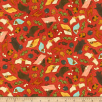 QT Fabrics Santoro Poppi Loves Reading Together Animal Toss Red