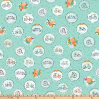 Ink & Arrow Scenic Route Bike & Floral Medallions Aqua
