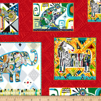 QT Fabrics Wild Side Geo Animal Patches Red