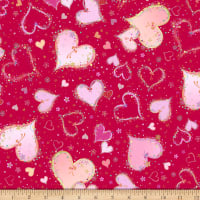 QT Fabrics With Love Large Hearts Red