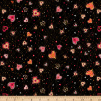 QT Fabrics With Love Medium Hearts Black