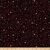 QT Fabrics With Love Tiny Hearts Black