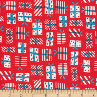 Cloud 9 Fabrics Noel Gift Geometry Organic Red