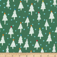 Cloud 9 Fabrics Noel Snowy Trees Organic Green