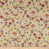 Cotton Linen Tropical Floral Coral/Yellow