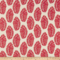Cotton Linen Abstract Leaves Red