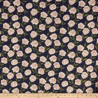 Cotton Linen Roses Red/Olive