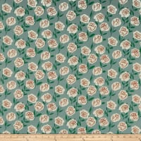 Cotton Linen Roses Mint/Green