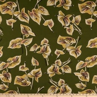 Cotton Linen Floral Tan/Olive