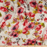 Silk Chiffon Watercolor Floral Red/Ivory