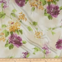Silk Chiffon Tropical Floral Mustard/Sage/Purple