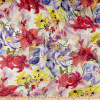 Silk Chiffon Multi Tropical Floral Yellow/Lilac/Magenta