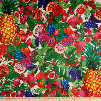Silk Chiffon Tropical Floral Red/Blue/Green