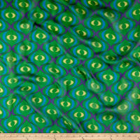 Silk Chiffon Asbtract Eyes Green