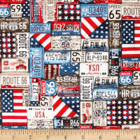 All American Road Trip License Plates Navy