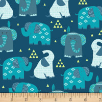 Boho Baby Elephants Dark Blue