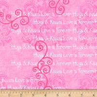 Hearts of Love Monotone Scroll with words Pink