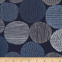 Cloud 9 Organic Modern Abstractions Barkcloth Stepping Stones Navy/White