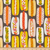 Alexander Henry Fabrics Hot Dog Graphite