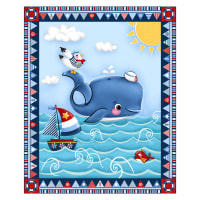 "A Whale Of A Time Nautical 36"" Panel Navy"