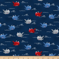 A Whale Of A Time Horizontal Whales Dark Blue