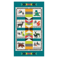 "Into The Woods Animal 24"" Panel Dark Teal"