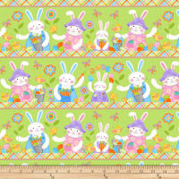 Carrot Patch Novelty Bunny Stripe Green