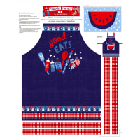 "Patriotic Parade 36"" Apron Panel Blue/Red"