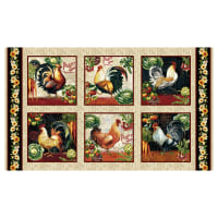 "Farmer's Market Rooster 24"" Blocks Cream"
