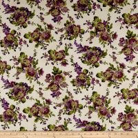 Maywood Studio Aubergine Floral Bouquets Ivory