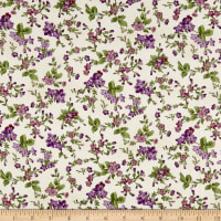 Maywood Studio Aubergine Trailing Flowers Ivory