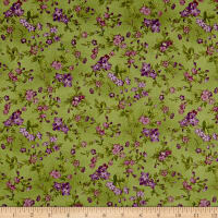 Maywood Studio Aubergine Trailing Flowers Green