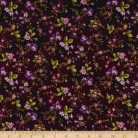 Maywood Studio Aubergine Trailing Flowers Deep Aubergine