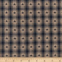 Country Cupboard Jacquard Star Plaid Yarn Dyed Navy