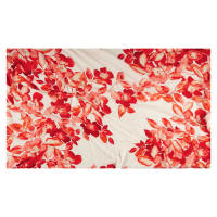 Large Watercolor Floral Chiffon White/Red-Orange