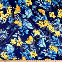 Tropical Floral Chiffon Blue/Yellow/Aqua