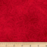 P&B Textiles Bella Suede Wide Floral Swirl Red