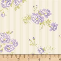 P&B Textiles Amelie Flowers/Pin Stripe Purple