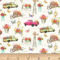P&B Textiles Fresh Country Flowers & Trucks Multi