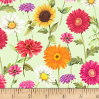 P&B Textiles Fresh Country Flowers Green