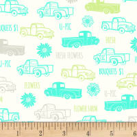 P&B Textiles Fresh Country Trucks Green