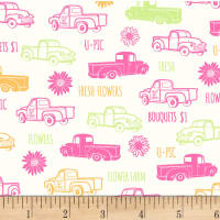 P&B Textiles Fresh Country Trucks Pink