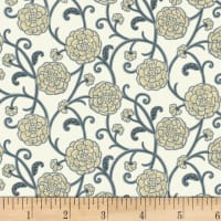 P&B Textiles Harmony With Nature Floral Metallic Neutral