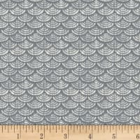 P&B Textiles Harmony With Nature Geometric Metallic Silver Grey