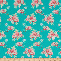 Freespirit Darling Meadow Lil Roses Teal