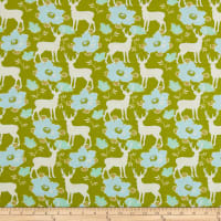 Freespirit Darling Meadow Deer Floral Olive